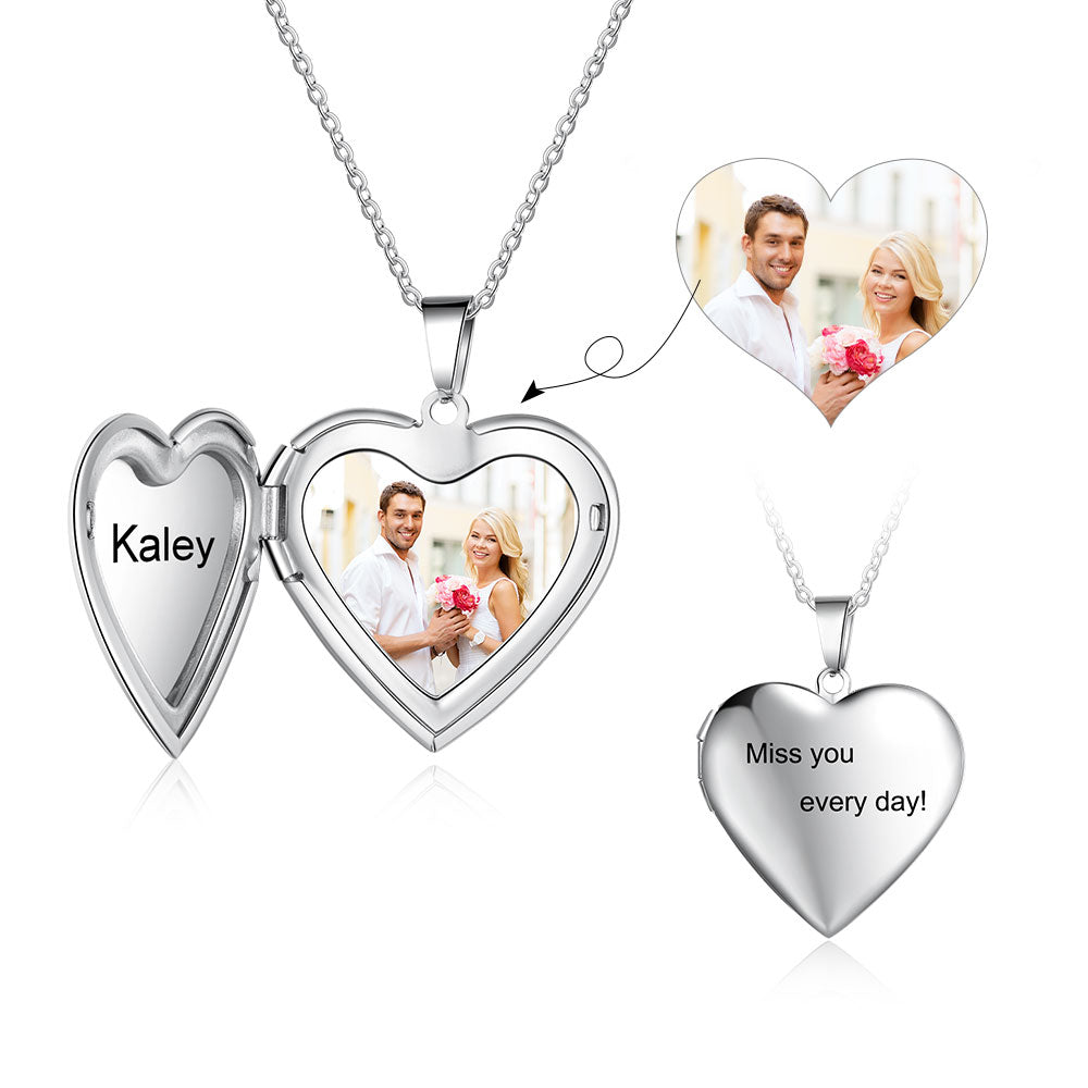 Heart Locket Necklace With Picture
