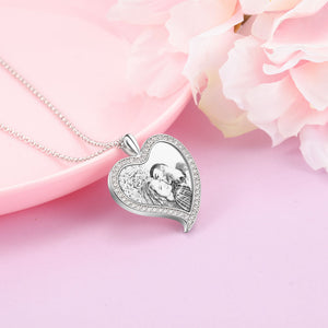 Rhinestone Custom Heart Necklace With Picture