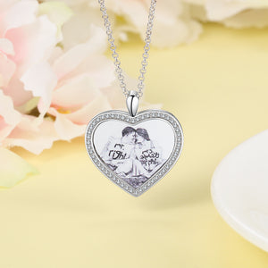 heart photo necklace for her