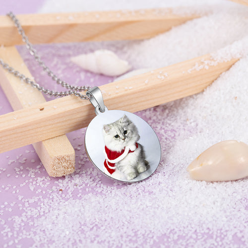 custom round photo necklace