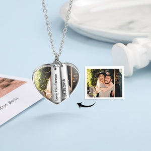 heart tag custom photo necklace