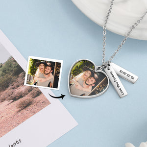 date tag custom photo necklace