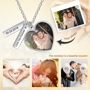 custom heart tag photo necklace