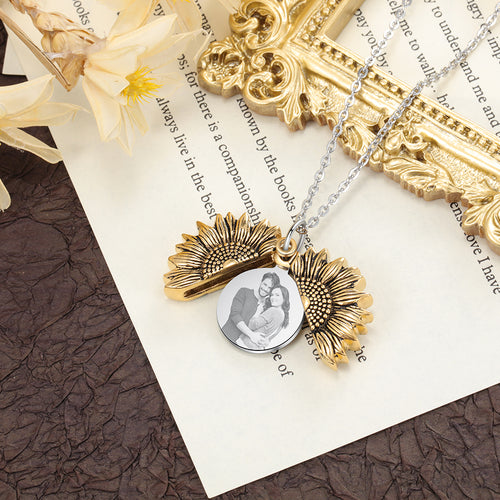 sunflower photo necklace
