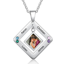 Personalized Multi-Name Photo Necklace - Square Shaped Multi Name Custom Photo Necklace