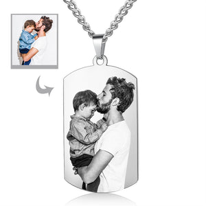 Personalized Dog Tag Photo Necklace Gift For Dad