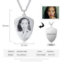 Personalized Photo Shield Necklace - Shield Photo Necklace