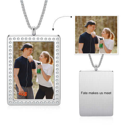 Rectangle Shape Rhodium Plated Custom Photo Necklace