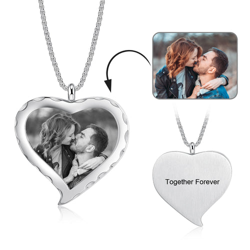 Brand New Custom Heart Photo Necklace With Box Chain