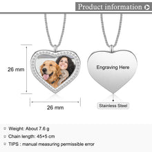 Stainless Steel Custom Heart Photo Necklace With CZ Stone