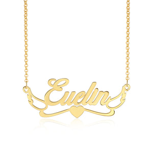S925 Silver Angel Wing Custom Name Necklace