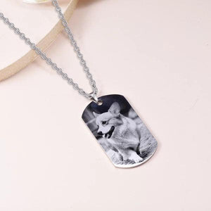 High-Quality Surgical Stainless Steel Personalized Pet Photo Necklace- Personalized Dog Tag Pet Photo Necklace