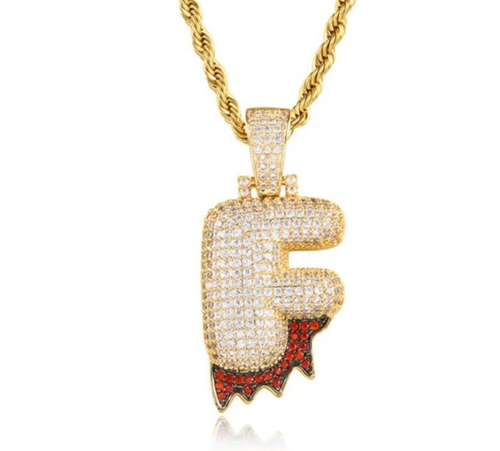 Cubic Zircon Custom Letter Pendant Necklace With Rope Chain