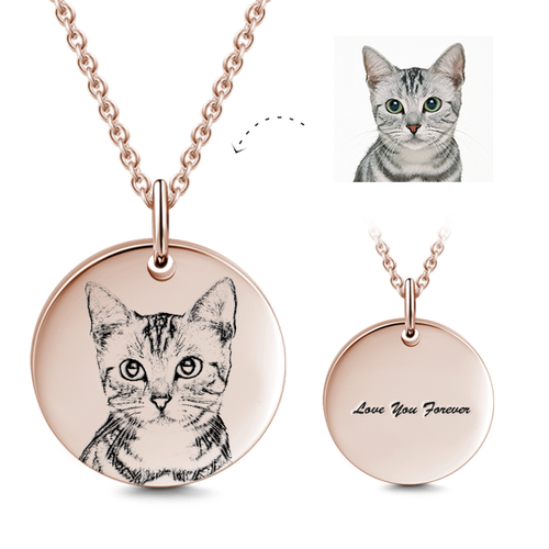 Personalized Pet Photo Necklace- Custom Your Cat, Dog Photo And Text- Gift For Pet Lover