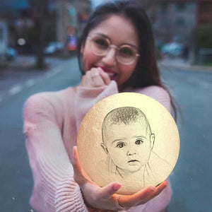 Photo Moon Lamp, Custom 3D Photo Light Baby Gift -FCC Certified