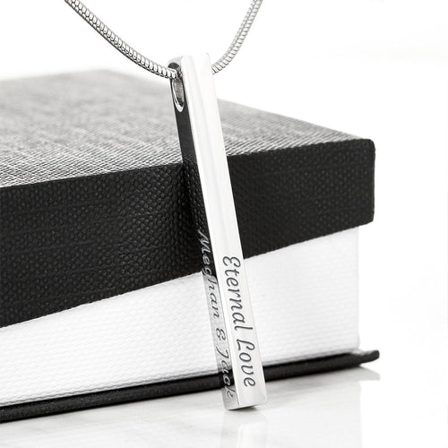 Custom Engraved Bar Necklace - 4 Sided Engraved Vertical Bar Necklace