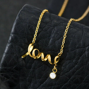 "The Gorgeous Scripted LOVE Necklace With Husband To Wife ""Heart To Heart"" Message Card"
