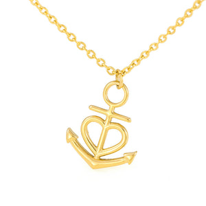 "Anchor Heart Necklace With Husband To Wife ""Forever and Always"" Message Card"