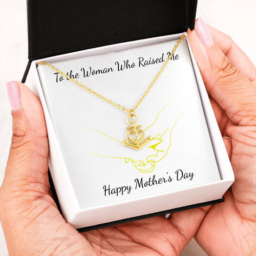 Beautiful Anchor Heart Necklace Mothers Day Gift With Mother's Day Wish Card