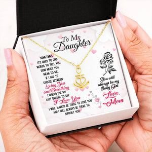 "Anchor Heart Necklace With Mom To Daughter Beautiful ""I Love You"" Message Card"