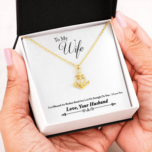 "Beautiful Heart Anchor Necklace With Husband To Wife ""Broken Road"" Message Card"
