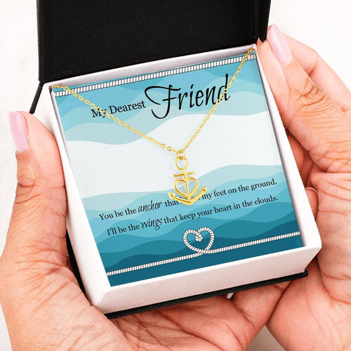 Beautiful Anchor Heart Necklace With Message Card For Best Friend