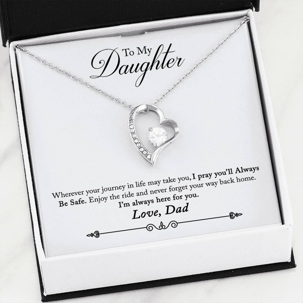 Beautiful Cubic Zirconia Heart Shape Necklace With Dad To Daughter
