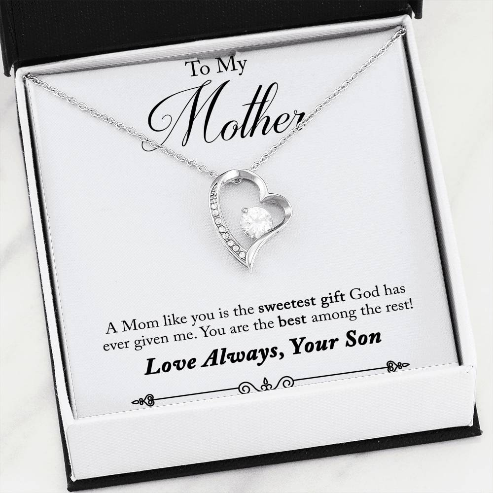 Beautiful LOVE Forever Heart Necklace With Son To Mom