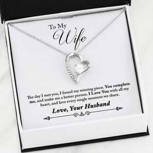 "Beautiful LOVE Forever Hear Necklace With Husband to Wife ""Complete Me"" Message Card"