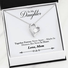Beautiful Cubic Zirconia Heart LOVE Necklace With Mom To Daughter Together Forever Message Card