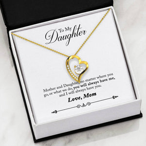 "Best Gift Hart Necklace With Stone- Free Mom To Daughter ""Always Have Me"" Message Card"