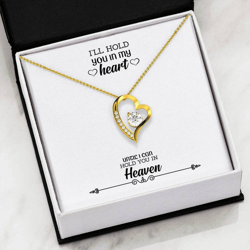 18K Gold Plated Heart Necklace -LOVE Forever Heart Necklace With Remembrance Message Card