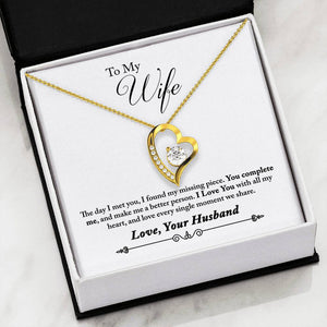 "Gifts For Wife Hear Necklace With ""Complete Me"" Message Card"