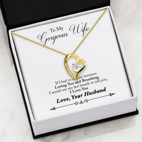 Husband to Wife - Forever Love Necklace with Message Card (Last Breath)