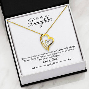"Cubic Zirconia Heart Necklace With Dad To Daughter ""Be Safe"" Message Card"