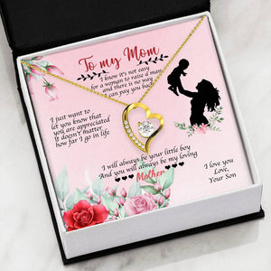 Gifts For Mom Cubic Zirconia Heart Necklace With Son To Mom Adorable I Love You Message Card