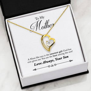 Gifts For Mom Heart Necklace With Message Card Son To Mom