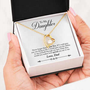 "Stone Heart Necklace with ""I Love You"" Message Card Dad To Daughter"