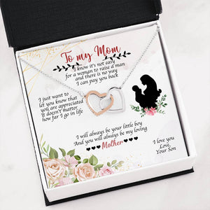 Heart Necklace With Son To Mom Adorable Message Card