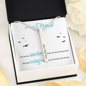 Vertical Bar Necklace Double Sided Engraved With Gifts For Best Friend Message Card
