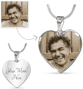 Custom Photo Heart Shaped Necklace - surgical steel with a shatterproof liquid glass coating and 18k gold finish