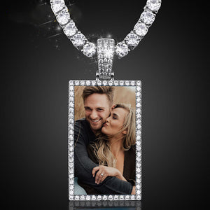 Custom Made Square Photo Medallion Necklaces Christmas Gifts For Couple