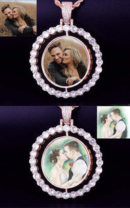 Custom Photo Rotating Double-Sided Medallions Pendant Necklace Christmas Gifts For Couple