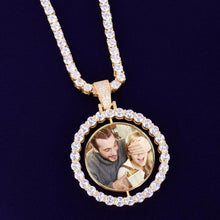 Custom Photo Rotating Double-Sided Medallions Pendant Necklace Christmas Gifts For Boyfriend