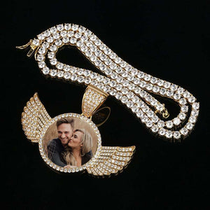 Personalized Photo With Wings Medallions Necklace