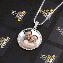 Custom Photo Medallion Necklace- Plating Of Gold Medallion Necklace Christmas Gifts For Dad