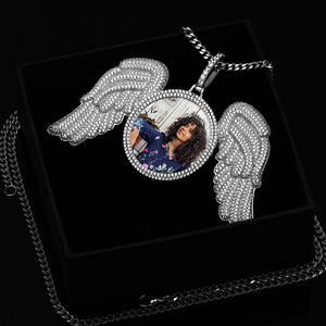 Custom Made Photo Angel Wings Medallion Necklace