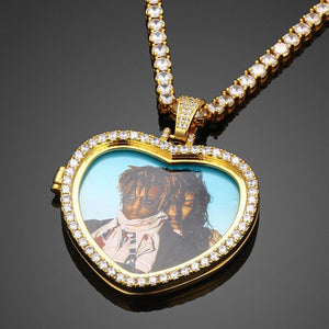 Custom Heart Photo Medallions Necklace Christmas Gifts For Girlfriend