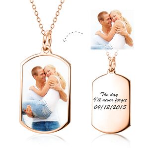 Custom Dog Tag Photo Necklace- Color Photo And Black And White Scratch