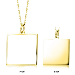 Personalized Square Photo Necklace- Personalized Necklace With Color Photo And Text